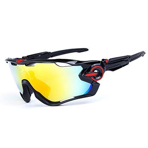 ZoliTime Radfahren Sonnenbrille polarisierte Herren Sportbrille 4 Objektiv Radfahren Brille Fahrradbrille (Schwarzes und rotes Logo)