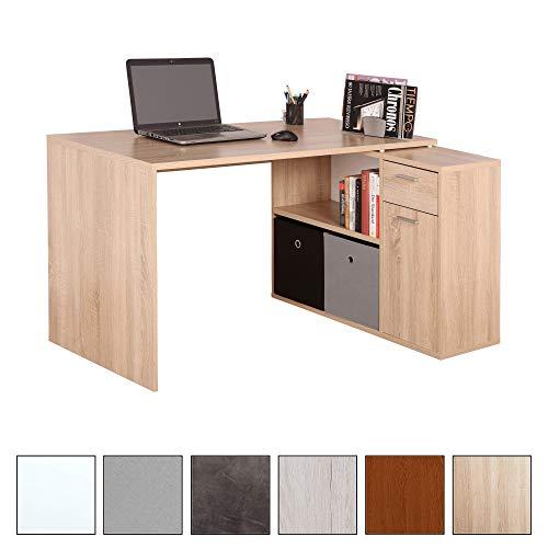ürotisch WM083-ES Arbeitstisch Eckschreibtisch Computertisch Lowboard Aktenschrank Regal Organizer/Holz Eiche Sonoma ()