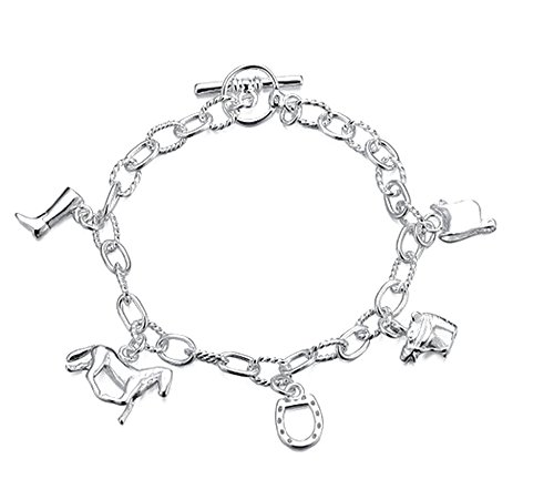 argento-sterling-925-gemme-lady-rivestito-braccialetto-con-vari-rimorchi-per-cavalli