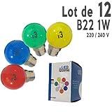 LedsBoutique - Lot de 12 ampoules LED B22 1W Rouges, Bleues, Vertes et Jaunes Incassables (équivalence 15W) pour Guirlande Extérieure