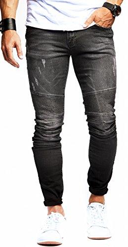 LEIF NELSON Herren Jeanshose Jeans Hose Stretch Schwarz Freizeithose Denim Slim Fit LN9930SC; W33L32, Blau