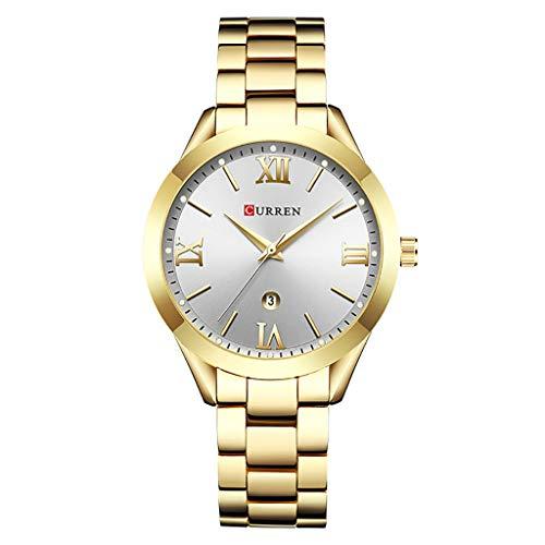 REALIKE Damen Armbanduhren Einfach Kalender Wasserdicht Lederband Uhren Elegant Ultradünn Britische Artart und Weise Quarzgeschäftsuhr Neue High End Quarzstahlband Geschäftsuhr Business Freizeit