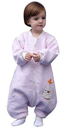 babySchläfsack langarm winter kinderSchlafsack,Hund mit Füßen Baumwolle Junge Mädchen unisex ganzjahres Schlafanzug .Neugeborene pyjama/overall /Strampler。(80cm.90cm,100cm.0-4 Jahre )。 ((M:90cm 1-3Jahre), Rosa) (Baby-jersey-windel)