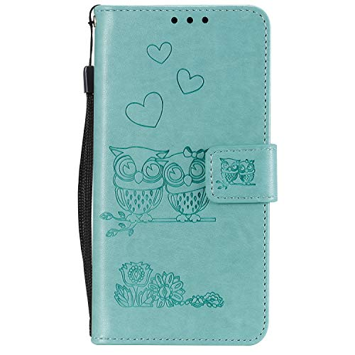 Miagon für Samsung Galaxy A9 2018 Hülle,Geprägt Eule Blumen Herz Muster Pu Leder Ständer Flip Schutzhülle Tasche Brieftasche Etui mit Magnetverschluss Kartenhalter -