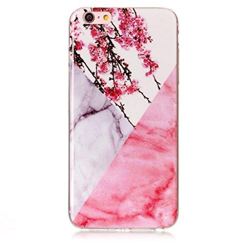 """Coque pour Apple iPhone 6S Plus / 6 Plus , IJIA Transparent Motif Marbre Rose TPU Doux Silicone Bumper Case Cover Shell Housse Etui pour Apple iPhone 6S Plus / 6 Plus (5.5"""") (MM18) YH71"""