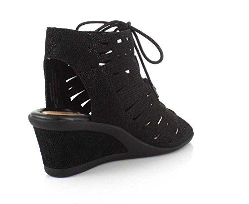 Earth Daylily Femmes Cuir Sandales Compensés Black