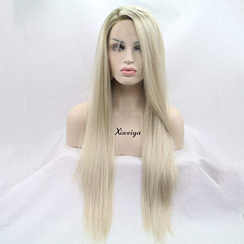 Xiweiya Peluca de pelo liso natural rubio marrón oscuro parte lateral de encaje sintético frontal peluca para mujer resistente al calor fibra de repuesto peluca Cosplay pelo