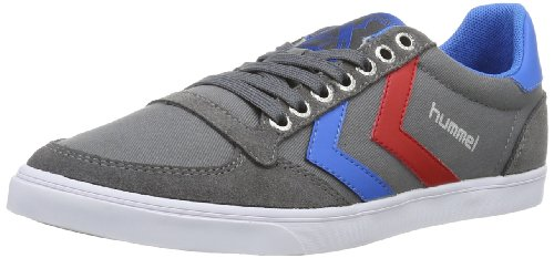 hummel Unisex-Erwachsene Slimmer Stadil Low Sneakers, Grau (Castle Rock/Ribbon Red/Brilliant Blue), 46 EU (11 Erwachsene UK)