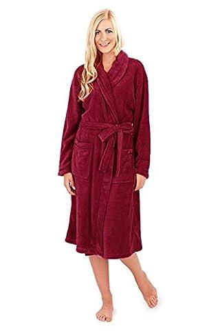 Femmes Loungeable Boutique Long Polaire Robe Doux Robe De Chambre - Bordeaux - Rouge, Taille L - EU 44-46