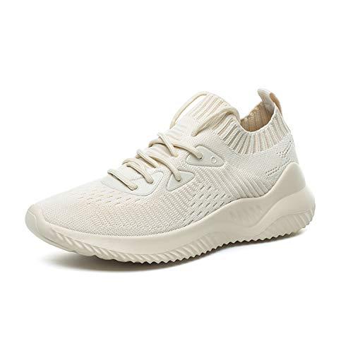 TAIZHOU Scarpe Running Sneakers Donna Sport Scarpe da Ginnastica Fitness Respirabile Mesh Corsa Leggero Casual all'Aperto(White 35EU)