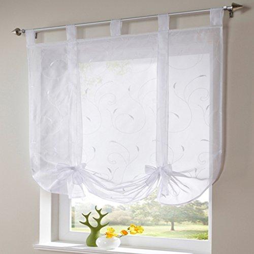 Simpvale 1 pezzo adornabile bowknot puro liftable nastro di seta fiore voile tenda romana (120cmx140cm,bianco)