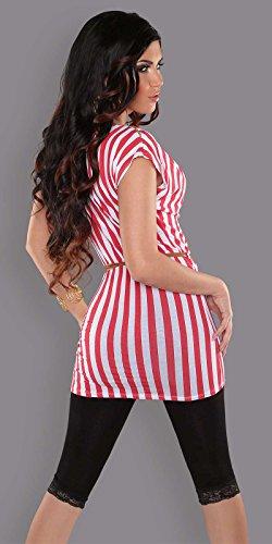 Trendy Longtop, gestreift mit Gürtel Rot