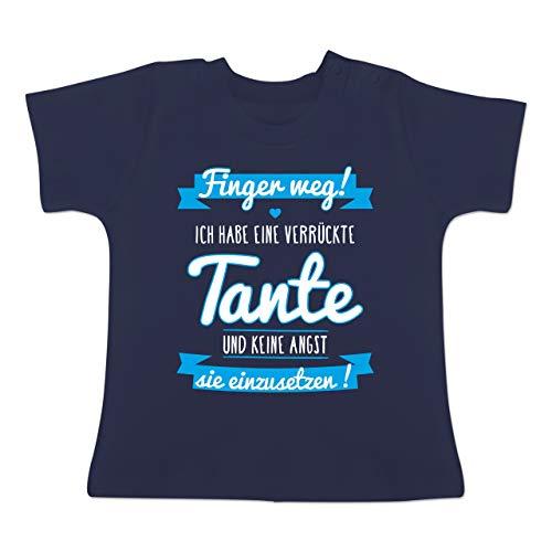 Sprüche Baby - Ich Habe eine verrückte Tante Blau - 6-12 Monate - Navy Blau - BZ02 - Baby T-Shirt Kurzarm -