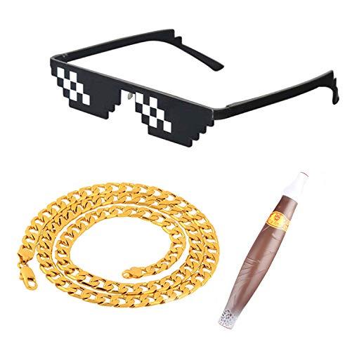 Skraft Thug Life Thema Partybrillen Set Einschließlich Partybrille, Zigarre und Halskette für EIN Lustiges Cosplay Verkleiden Party Zubehör Sonnenbrille Spielzeug für Herren und Damen