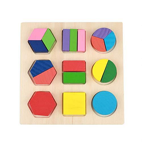 Fdit Socialme-EU Juguete Geométrico Educativo Infantil de Madera Puzzle Juguetes Bloques de Construcción Geométrico Edificio Juguete de Conocer Figuras Colores Primera Infancia para Niños y Bebé(# 3)