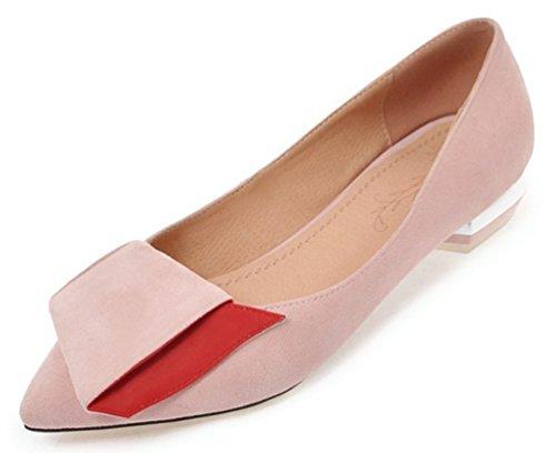SHOWHOW Damen Flach Spitz Zehe Ballerinas Slip-On Low Top Slipper Pink 37 EU (Geschlossen-toe Strümpfe)