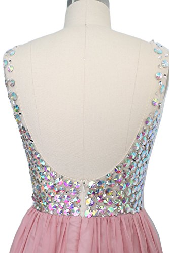MACloth Women V Neck Crystal Long Prom Dress Cocktail Evening Party Gown Zartrosa