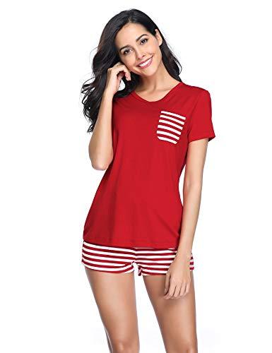 Lusofie Damen Pyjama Set Kurzarm Gestreiftes Nachtwäsche-Set Schlafanzug mit Tasche(68 Rot, XL)