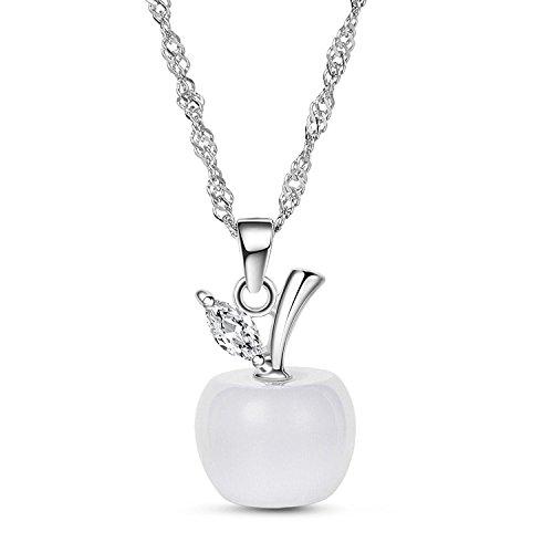 LUXURY - Collana pendente da donna modello MELA PASSIONALE colore bianco con catenina e ciondolo. Idea regalo per San Valentino, Natale e Festa della Mamma.