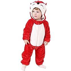 MissFox Unisex Bebé Niñas Niños Ropa de Noche Animal Carnaval Disfraz Cosplay Kigurumi Pijamas - Rojo Zorro, Tamaño 80