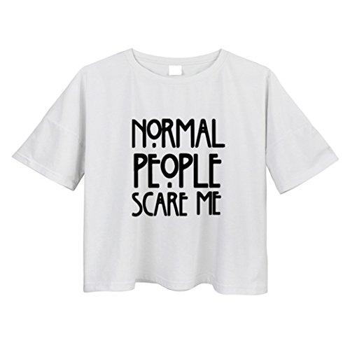 Yeesea Damen Sommer Baumwolle Kurzarm Crop Top Crop Bluse T Shirt Weiß