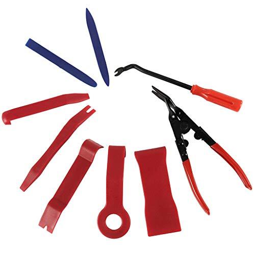 wyxhkj 9 STÜCKE Auto Türverkleidung Dash Entfernung Pry Tool Polster Werkzeuge Clip Zange Kit (Rot) - Polster-tool