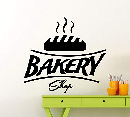 zhuziji Bäckerei Logo Vinyl Wandaufkleber Hohe Qualität Brot Küche Wandtattoo Cafe Shop Symbol Innen Abnehmbare Decor Kunst D 57x61 cm