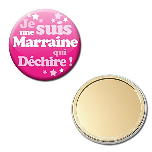 Je suis une MARRAINE qui déchire Miroir de poche 56mm (Idée Cadeau Baptême Communion Noël)