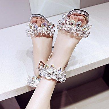 LvYuan Da donna-Sandali-Matrimonio Formale Serata e festa-Altro D'Orsay-Quadrato-Di pelle-Argento Silver