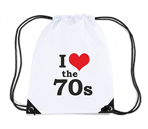 T-Shirtshock - Rucksack Budget Gymsac TR0066 I Love The 70s 25mm 1 Pin Badge Button 70 s Seventies Retro Vintage Glam Rock, Größe Kapazität 11 Liter (Glam Baumwolle Rock)
