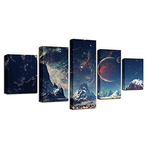 MIAOLULU druckt Wall Art Canvas Set Mountains und Space Planet Art Print Poster Painting 5 Stück,Painting+Frame,100 * 55cm