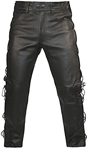 Skintan Mens Leather Lace Sided Trousers Jeans - L29 W28