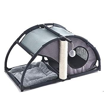 OHANA Niche pour Chat intérieur, Dôme pour Chat Design et Multifonctionnel avec poteaux en sisal et Jouet Balle 80 * 40 * 40cm