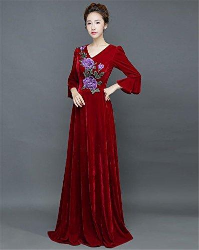Drasawee Damen Empire Kleid Weinrot