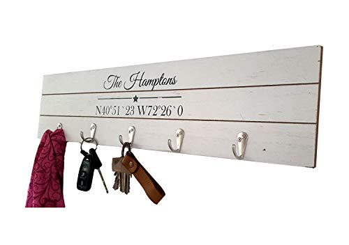 LB H&F Lilienburg Garderobe XXL 55 cm groß Wandgarderobe Kleiderhaken -B- Shabby Holz 5er (Weiss 1)