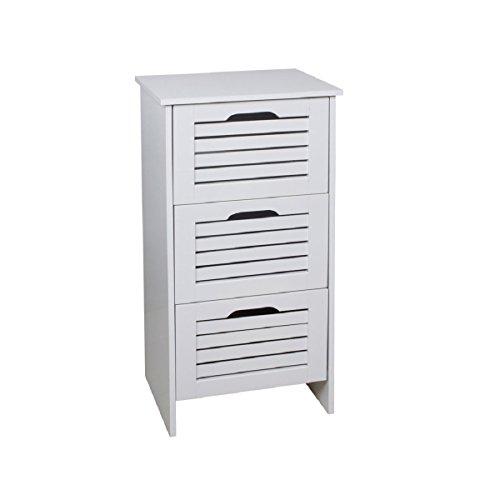 Carpemodo Schrank Badregal Nachttisch mit 3 Schubladen Pan-2' Schrank Kommode Weiß 37,5x28x76 cm