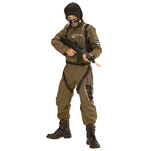 Kostüm Forces Special Junge - Widmann 49447 - Kinderkostüm Fallschirmspringer Special Forces, Overall, Weste, Kapuze, grün, Größe 140