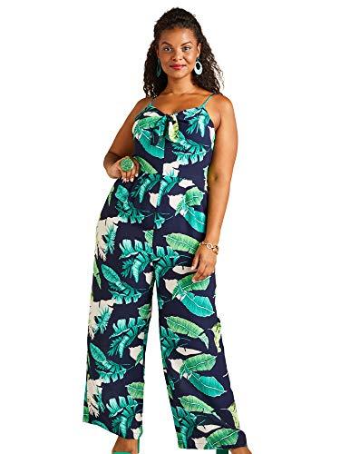 Navy Yumi Curves Tropical Palm Print Tie Knot Jumpsuit Tie Jumpsuit