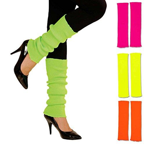 neonfarben leuchtende Stulpen 80er grün krelle Legwarmer schrille Aerobic Stutzen Fitness Outfit Accessoire 80er-Outfit Zubehör ()