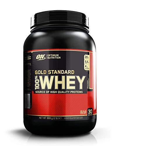 Optimum Nutrition ON Gold Standard 100% Whey Proteína en Polvo Suplementos Deportivos con Glutamina y Aminoacidos Micronizados Incluyendo BCAA, Fresa, 30 Porciones, 900 gr