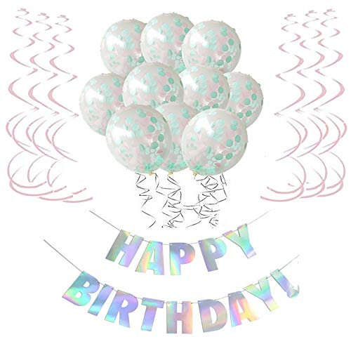 O CAT Geburtstagsdeko Junge und Mädchen Laser Happy Birthday Girlande Konfetti-Ballon Pink Spiralen Geburtstag deko Set