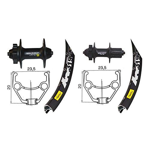 Bike-Parts Laufrad-Satz 26' Mavic XM-319 Disc gespeicht 36-Loch, Nabe Shimano Deore XT Disc 6-Loch 8/10-fach, schwarz, 2-teilig (1 Set) -