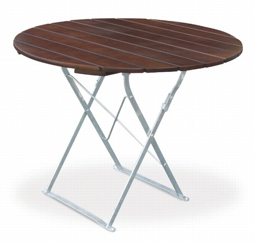 Table de terrasse ronde cm, ø 90 cm euroLiving edition exklusiv-marron/métal galvanisé