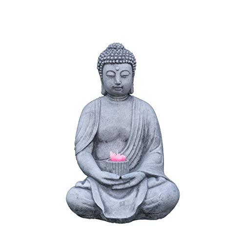 gartendekoparadies.de Massive Steinfigur Stein Buddha mit Gefäß für Teelicht aus Steinguss frostfest