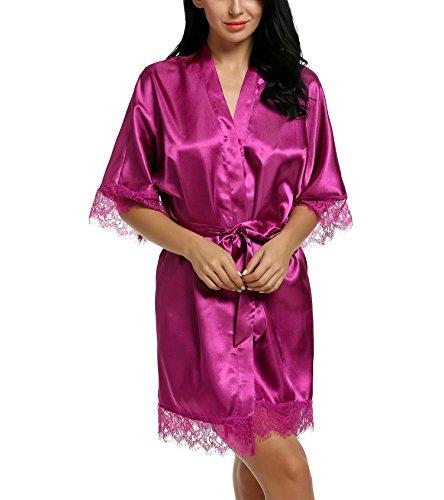 Damen Sexy Satin Japanischer Kimono kostüm Kurz Robe Chemise Dessous Set Nachtkleid Chemise Nachthemd Negligee Nachtwäsche Reizwäsche Babydoll Lingerie, A Violett, Gr. L (Dessous Chemise Nachthemd)