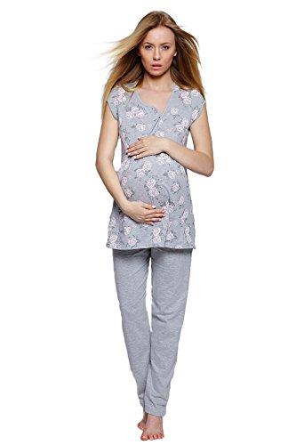Sensis Traumhafter Stillschlafanzug/Umstandspyjama mit Praktischem Reißverschluß zum Stillen aus 100% Baumwolle, grau/rosa, Gr. M