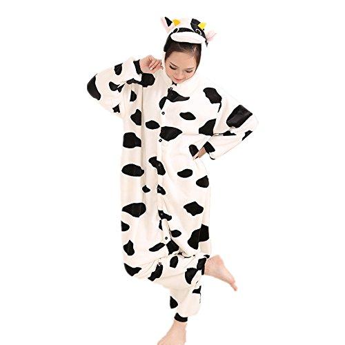 Jysport, unisex Pyjama aus Fleece mit Einhorn-Motiv und Kapuze für Kinder, Damen und Herren Größe L Kühe (Für Kuh-pyjama Kinder)