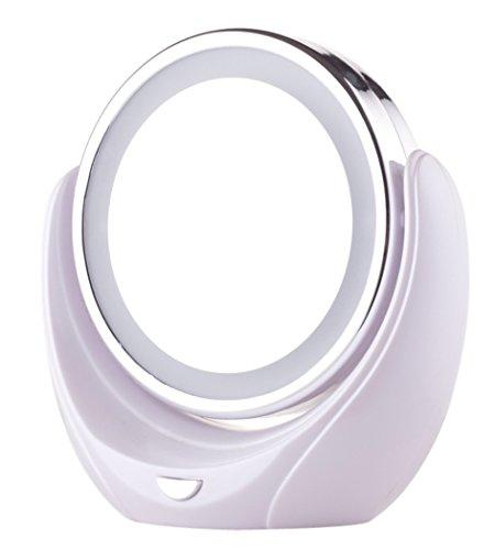 Outgeek Trucco Specchio Girevole Ingrandimento Specchio Laterale Doppio LED Cosmetico Specchio