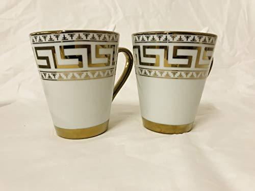 Deko-König 4 Teilig 2x Kaffee oder Tee Tassen mit Löffel Set Kaffee Pott. Mit Medusa Verzerrungen -