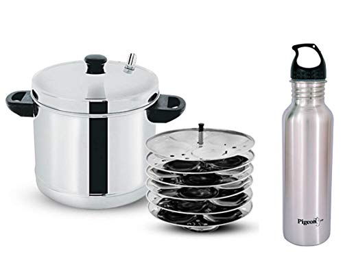 Pigeon i Stainless Steel 6-Plates Idly Maker with Play Boy Bottle (Silver)